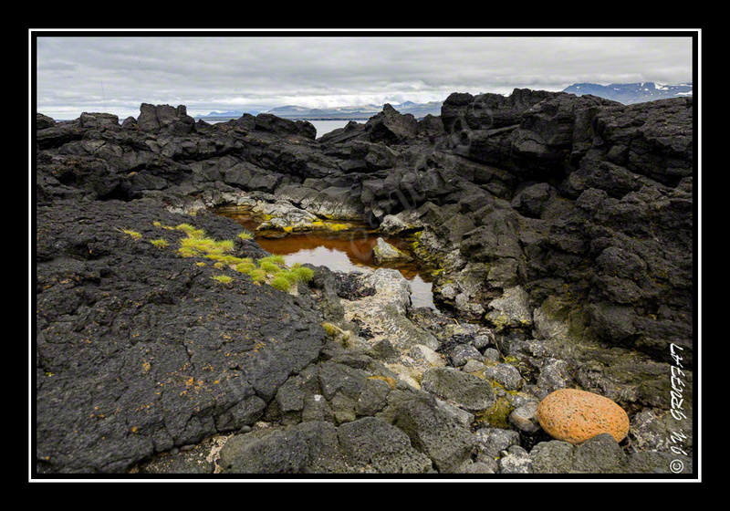 Öndverðarnes - black basalt rocks, contrasted colors: we feel really be elsewhere